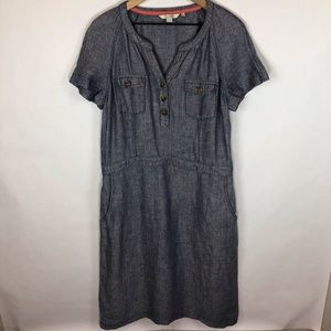 Boden herringbone button neckline dress 12